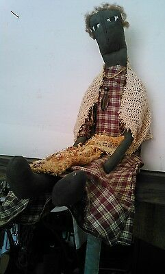 27 inch vintage primitive country folk art ragdoll sitting tea stained rustic