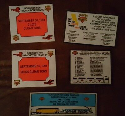 Lot of 5 Robinson Run Coal Mining Stickers and Decals CONSOL
