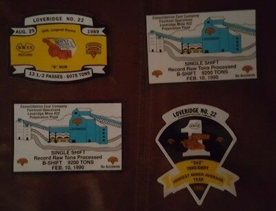 Lot of 4 Loveridge Coal Mining Stickers and Decals CONSOL
