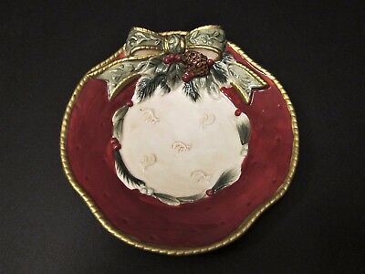 Fitz and Floyd Christmas For All Seasons Bowl or Candy Dish with a Holiday Bow