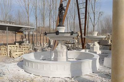 Beautiful Hand Carved Marble Fountain With Figural Bronze Figure - #2531