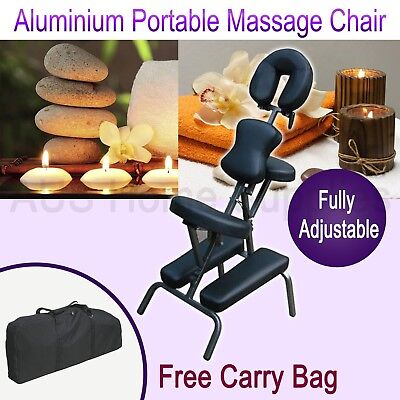8Aluminium Portable Massage Chair Beauty Therapy Tattoo Waxing Remedial Black