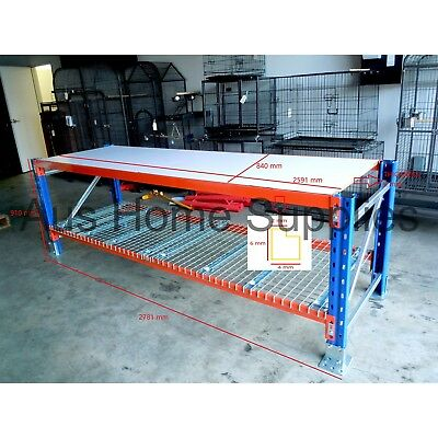 Pallet Racking Work Bench Heavy Duty Packing Bench 2591mm / 1372mm Width