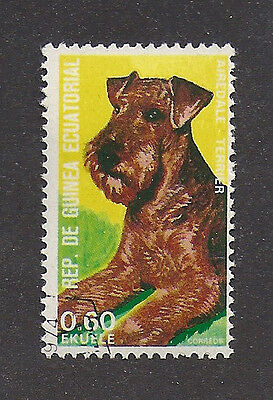 Rare Dog Art Head Study Postage Stamp AIREDALE TERRIER Equatorial Guinea CTO