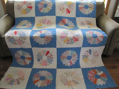 Dresden Plate Quilt Wedgwood Blue White Feed Sack Prints Approx 1930's Stunning