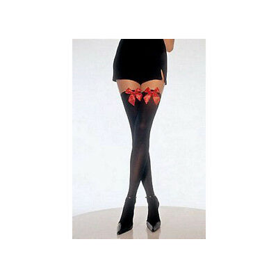 Leg Avenue Opaque Thigh High with Bow Plus Size 6255QLEG_BL Black One Size Fits