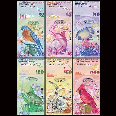 Bermuda Full Set 6 PCS, 2-100 Dollars, 2009, P52-62, match, UNC