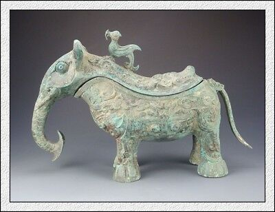 Ancient China Rare Wonderful Collectable Shang DY Old Bronze Elephant Vessel