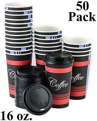 50 ct. 16 Oz. Poly Paper Hot Tea Coffee Cups Black Lids Eco Friendly Disposable