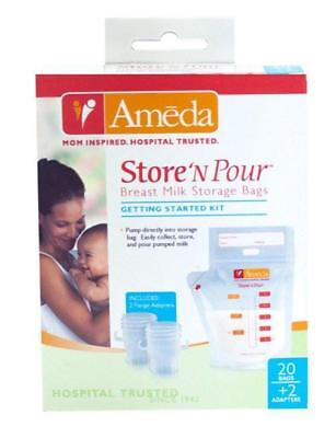 Ameda Store N Pour Breast Milk Storage Bags (Getting Started Kit - 20pk with ...