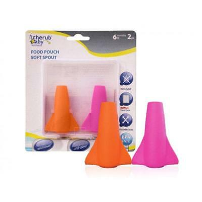 Food Pouch Soft Silicone Spouts in Green & Blue, Pink & Orange