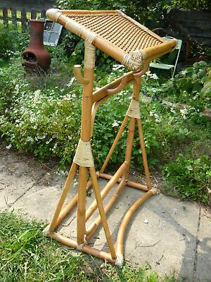 Vintage Asian Chinese Japanese Polynesian  Bamboo Rattan Maitre D Stand