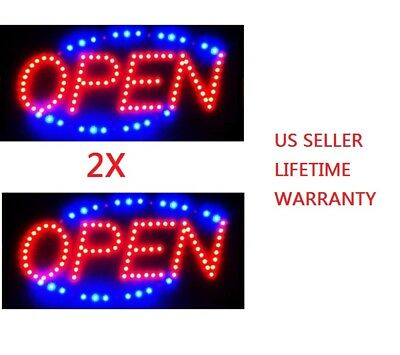 2X T56 Bright Animated Motion Open Sign Running Neon LED Business Store Shop
