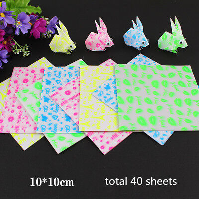 40 Sheets Luminous Square Origami Folding Lucky Crane Paper 10*10cm Glow in Dark