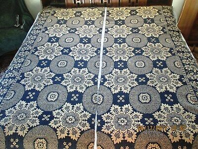 "Antique Jacquard Coverlet/blanket Dated 1844  -  Measures   84"" X 72"""
