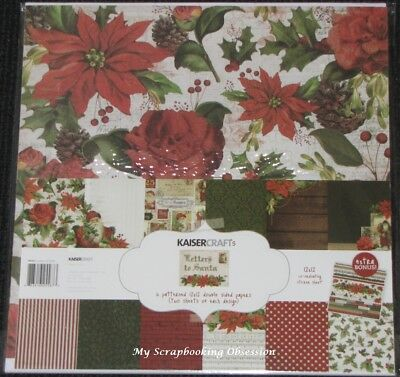 "Kaisercraft 'LETTERS TO SANTA' 12x12"" Paper Pk + Stickers Christmas/Holly KAISER"