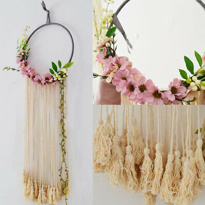 "RE32"" Boho Large Macrame Fringe Tassel Floral Flower Dream Catcher Wall Hanging"