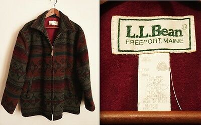 Vintage LL BEAN JACKET (G697) LARGE MultiColor Wool, Chamois Lining Rare L.L.