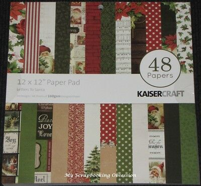 "Kaisercraft 'LETTERS TO SANTA' 12"" Paper Pad 48 Sheets (24 Designs x2) KAISER"