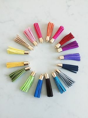6 x Leather Tassels 50mm 5cm Long - Choose your own colours