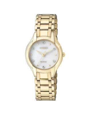 NEW Citizen Ladies Gold Stainless Steel Eco-Drive Diamond Watch - EM0282-56A