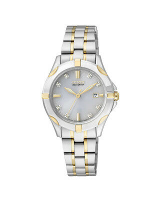 NEW Citizen Ladies Two Tone Stainless Steel Eco-Drive Diamond Watch - EW1934-59A