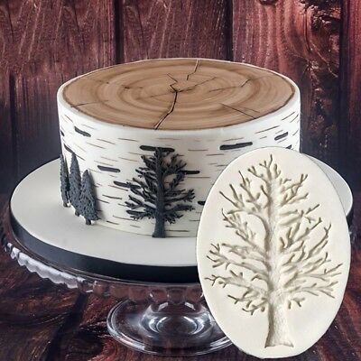 3D Trees Shape Cookie Fondant Cutter Cake Chocolate Sugarcarft Silicone Mold DIY