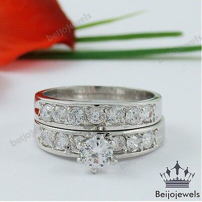 Sterling Silver 14k White Gold Round Diamond Cut Engagement Wedding Ring Set
