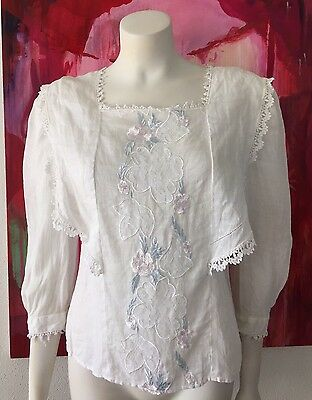 Vintage Embroidered Top Cloak of Many Colors Victorian Style Linen Top Ivory