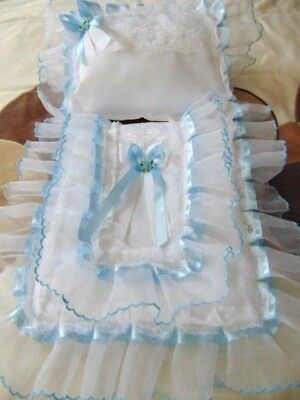 Dolls Pram Set Cover Pillow In White And Blue Organza Hand Made