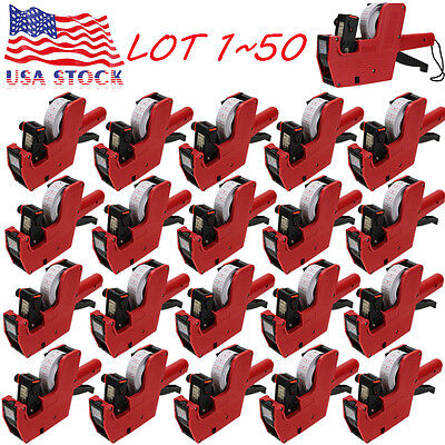 LOT MX-5500 EOS 8 Digits Price Tag Gun White w/ Red lines sticker labels + Ink L