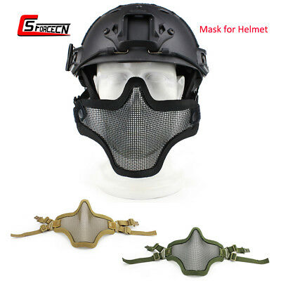 Outdoor Tactical Airsoft Military Steel Mesh Half Face Mask for Fast Helmet Rail