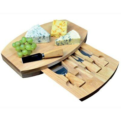Oval Cheese Board With Integrated Drawer and 4 Specialist Cheese Knives