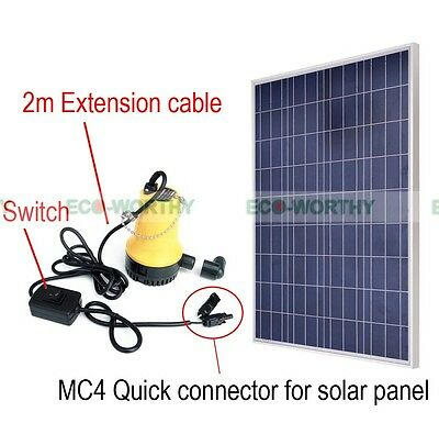 100W Solar Panel w/ Pond Water Pump Watering Pisciculture Irrigation Washing