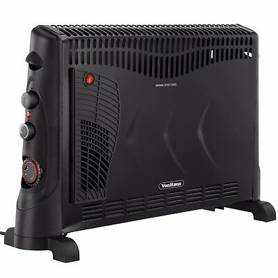 VonHaus 2KW Portable Electric Convector Heater - 3 Heat Settings, Turbo & Timer
