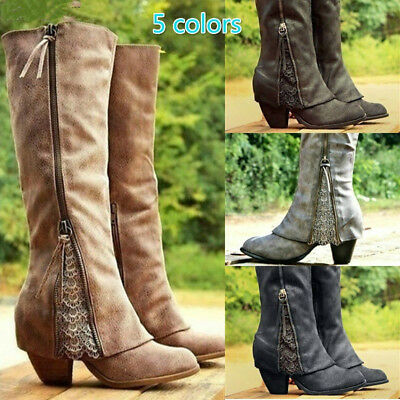 Women's Retro Leather Riding Boots Fold Over Design Ankle with Lace Long Boots