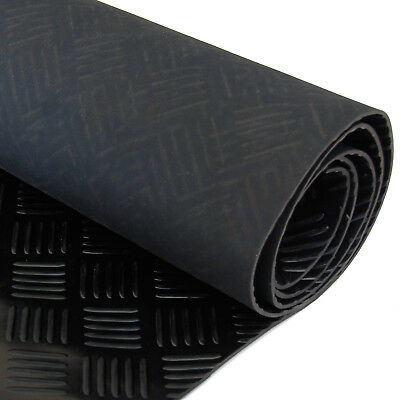 Black Garage Camper Van Floor CHECKER PLATE Rubber Flooring Mat 1.5m x 4m x 3mm