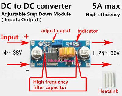 DC-DC Buck Step-down 5V-36V to 3.3V 6V 9V 12V 24V 5A Converter Voltage Regulator