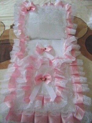 Dolls Pram Set Cover Pillow In White And Baby Pink  Hand Made