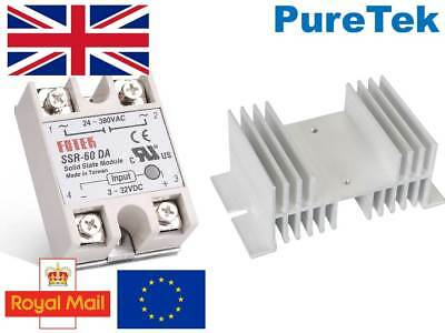 SSR-60A 60A SSR Solid State Relay with Aluminium Heat Sink Top/Cover (UK STOCK)