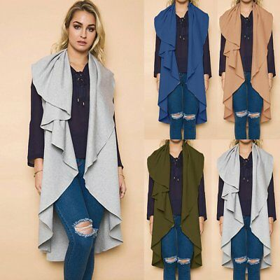 New Women Casual Sleeveless Long Duster Coat Jacket Cardigan Suit Vest Waistcoat