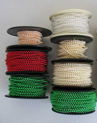 5metre STRING of 2mm FAUX PEARL ACRYLIC BEADS.
