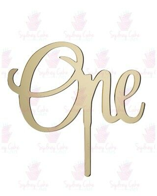 One Acrylic Cake Topper - Mirror Gold, Silver, Red and Pink- For 1st Birthday