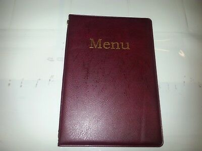 Qty 10 A5 Menu Cover/Folder In Burgundy Leather Look Pvc + Double Pocket -Chord