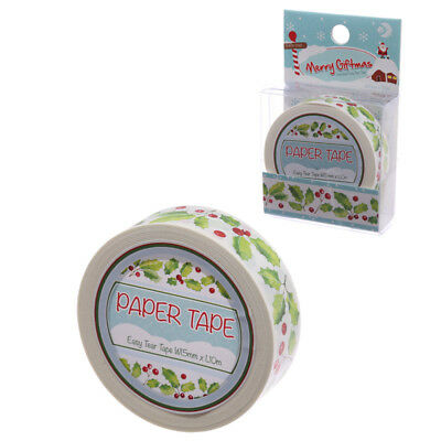 10 Metre Paper Self Adhesive Gift Tape Christmas Holly