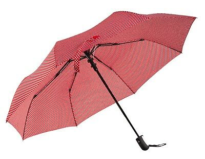Ladies Folding Windproof Umbrella - Rain & Sun Protection - Red White Polka Dot