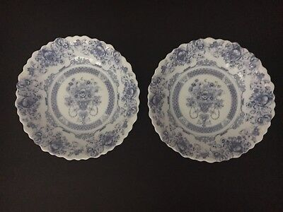 """Two-2- Arcopal China Blue HONORINE  7"""" Scalloped Cereal Soup Salad Bowls FRANCE"""