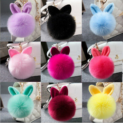 Colorful Rabbit Fur Ball PomPom Cell Phone Car Keychain Pendant Key Ring Decor