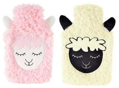 2 Litre Hot Water Bottle with Fluffy Fleece Sheep Face Cover