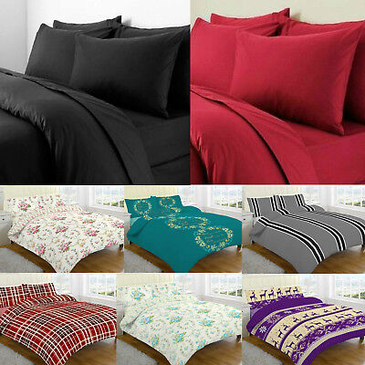 New 100% Thermal Brushed Cotton Flannelette Duvet Cover Bed Set Cosy Warm Soft